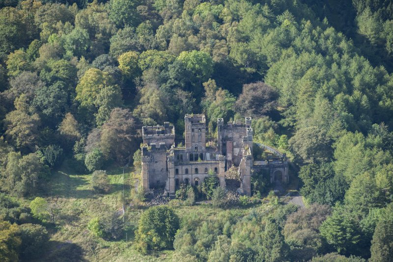 Oblique aerial view of Lennox Castle, looking WSW.