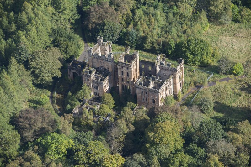 Oblique aerial view of Lennox Castle, looking ENE.