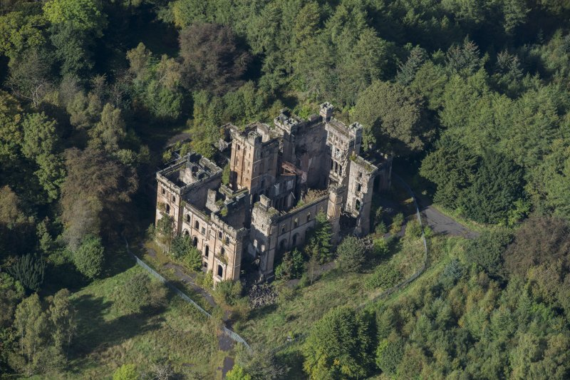 Oblique aerial view of Lennox Castle, looking WNW.