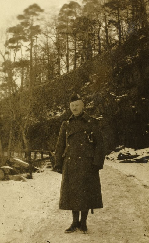 View of British soldier at Stobs Camp by the castle steading.