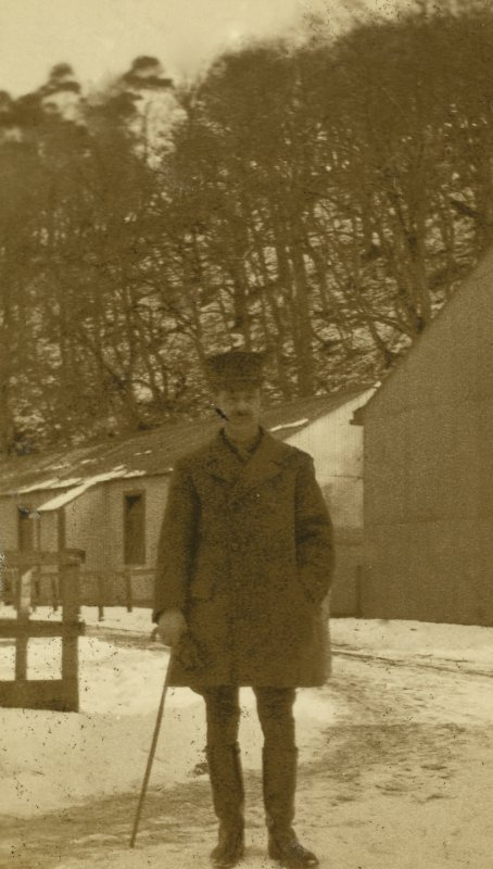 View of soldier at Stobs Camp by the castle steading.