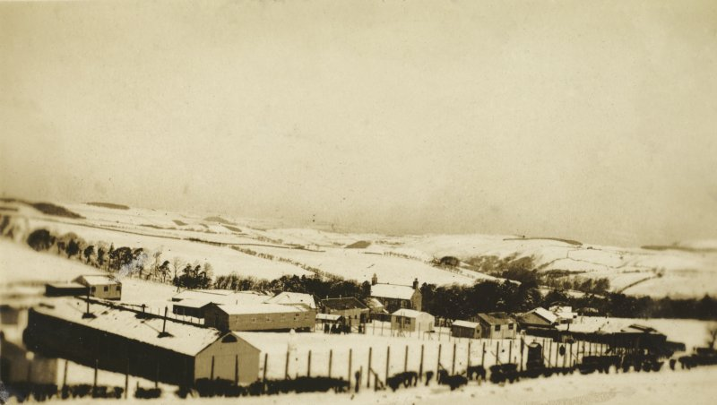 View of huts at Stobs Camp.