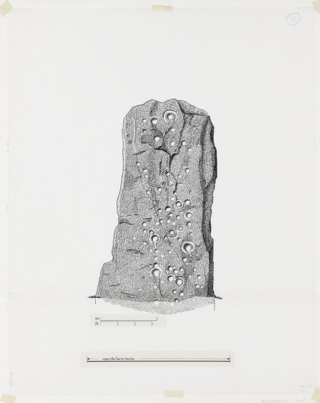 Publication drawing; Ballymeanoch stone B, NE face.
