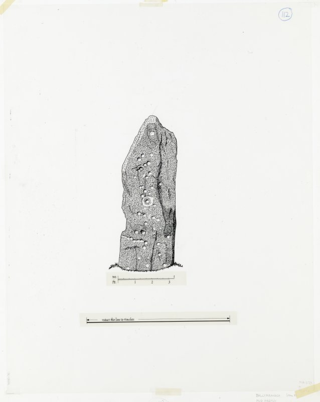 Publication drawing; Ballymeanoch stone C, SW face.