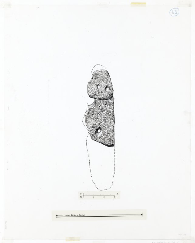 Publication drawing; Ballymeanoch stone (G), E face.
