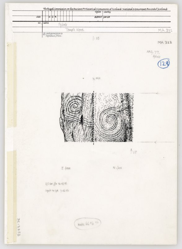 Publication drawing; Temple Wood SW circle, upright stone, showing spiral decoration.