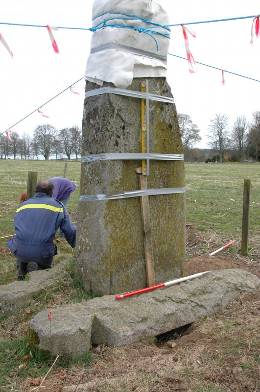 Photograph of John Bell's Stone, Stabilisation Project, Castle Fraser