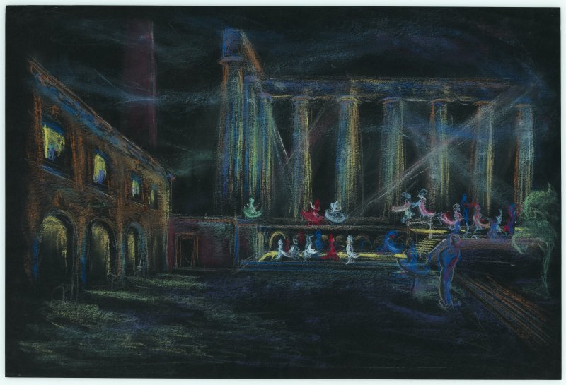 Calton Hill National Monument, pastel drawing