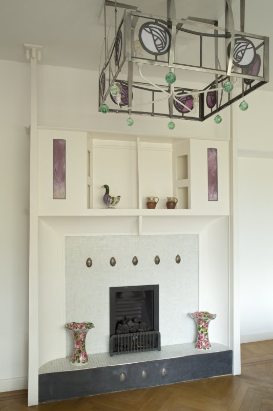 Windyhill, ground floor, living room, view of fireplace and light fitting