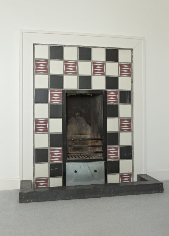 1st floor, bedroom no.2 on plan, detail of fireplace.  Windyhill, Kilmacolm