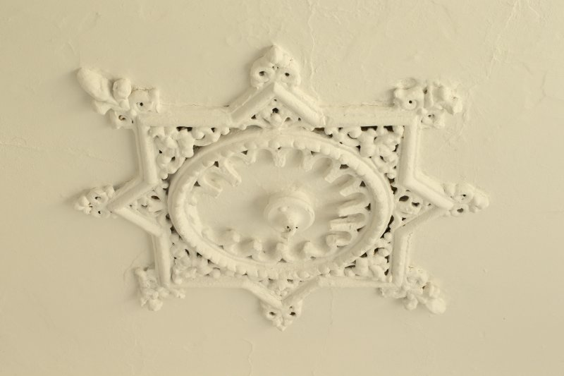 Interior. Detail of ceiling rose within 1st floor of stairwell