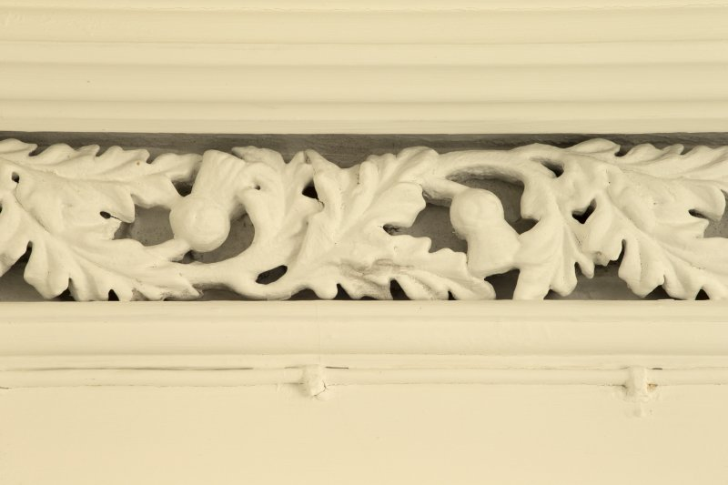 Interior. 1st floor, landing, detail of decorative cornice within 1st floor of stairwell