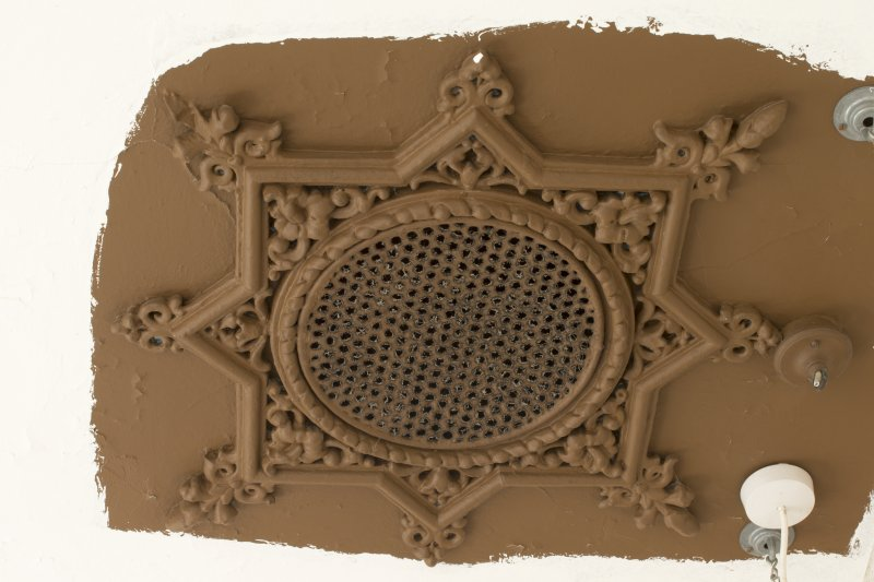 Interior. Detail of ceiling rose within 1st floor toilet
