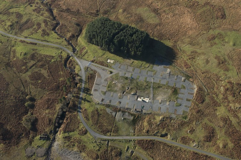 Oblique aerial view of the Macnabstone military camp, looking WSW.