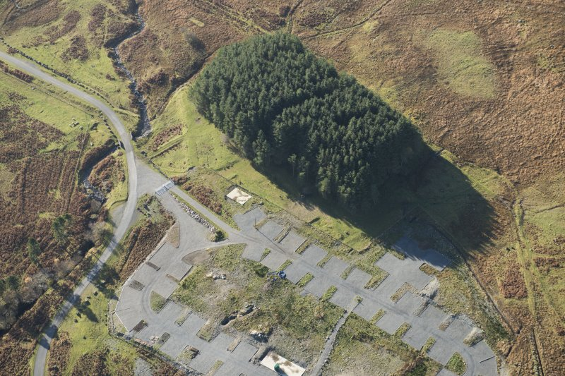 Oblique aerial view of the Macnabstone military camp, looking SW.
