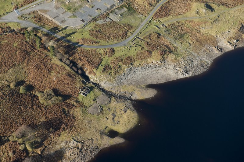 Oblique aerial view of the Macnabstone military camp and the sewage plant, looking NW.