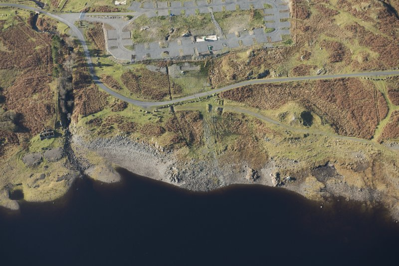 Oblique aerial view of the Macnabstone military camp and the sewage plant, looking W.