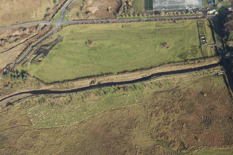 Oblique aerial view of the Bogton airfield, looking NE.