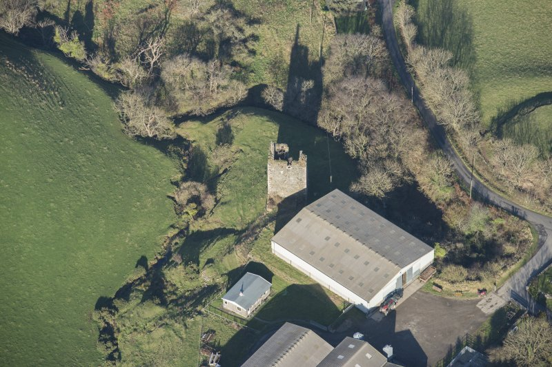 Oblique aerial view of Carleton Castle, looking N.