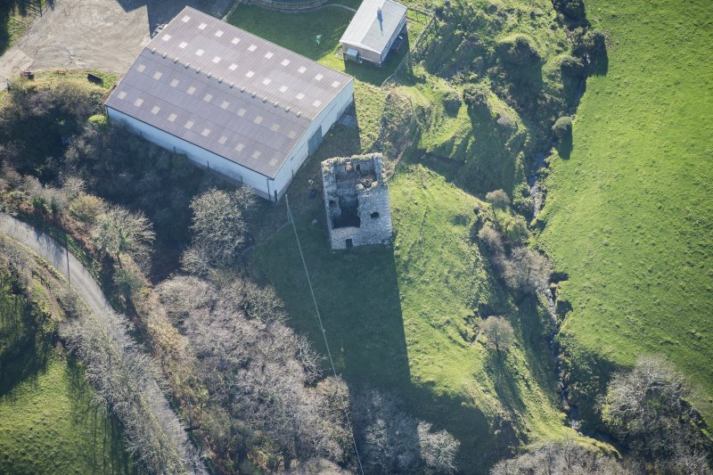 Oblique aerial view of Carleton Castle, looking SW.
