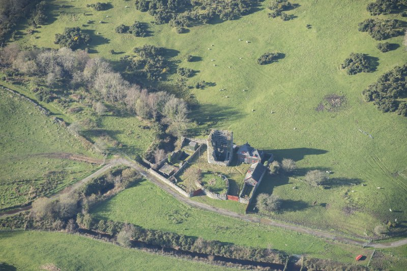 Oblique aerial view of Castle Stewart, looking NW.