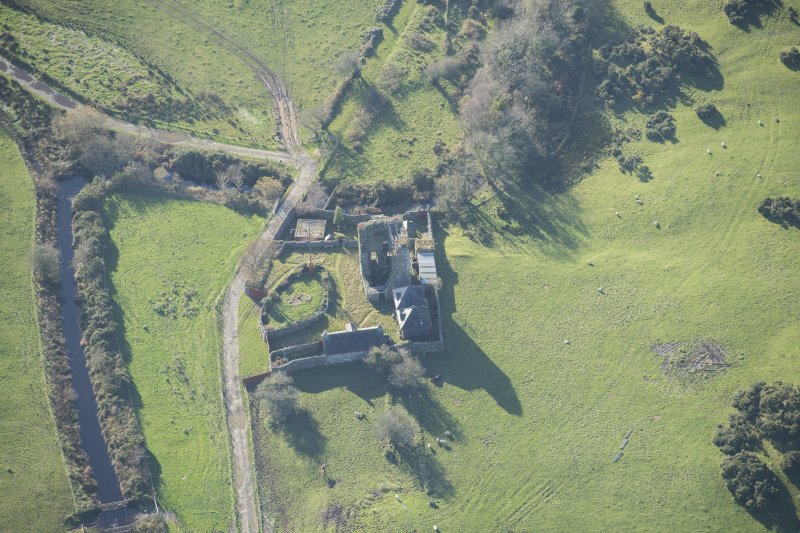 Oblique aerial view of Castle Stewart, looking SW.