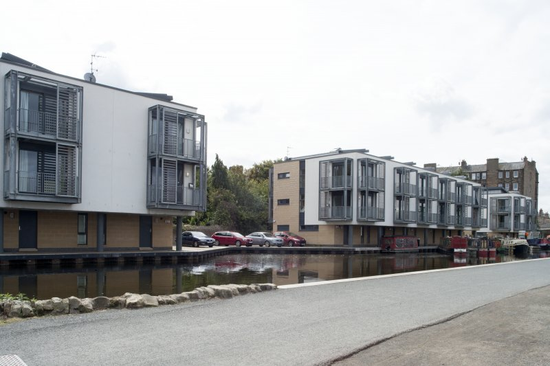General view of new development on the Leamington Wharf, Union Canal, Edinburgh, taken from the north-east.