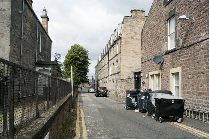 General view of Leamington Terrace, looking towards Leamington Wharf, Union Canal, Edinburgh, taken from the south.
