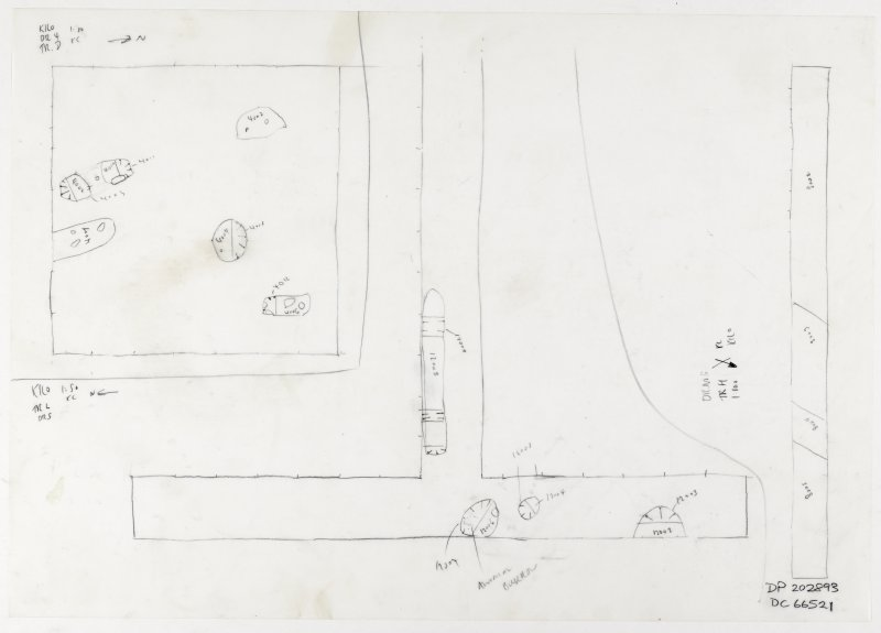 Drawing nos 4, 5 and 6. Plan of Trenches D, L and H