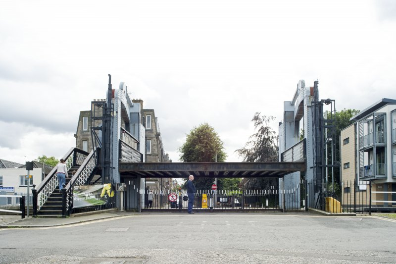 General view of Leamington Lifting Bridge, Union Canal, Gilmore Park, Edinburgh, in raised position, from the north