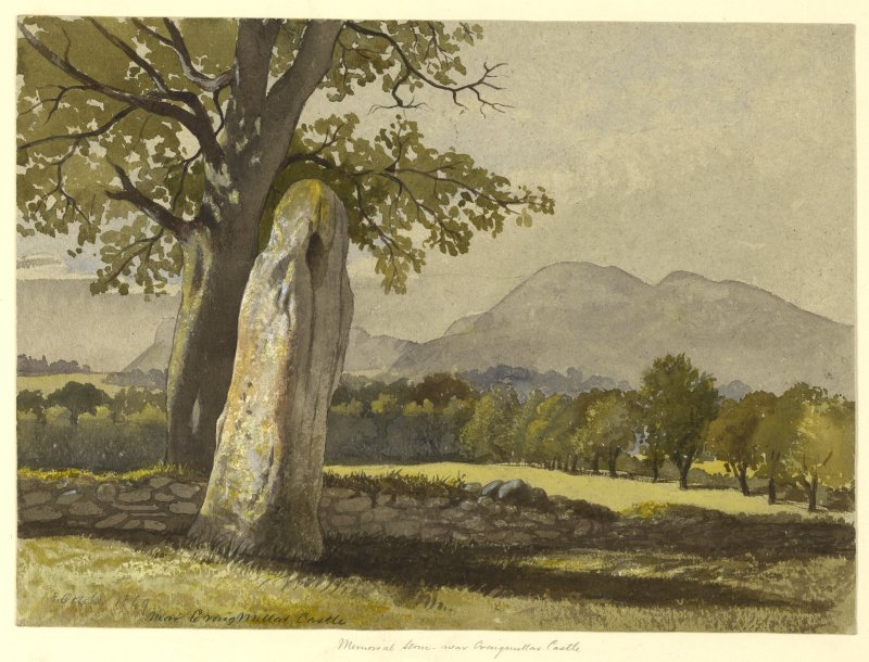 Painting of the Memorial Stone near Craigmillar Castle.