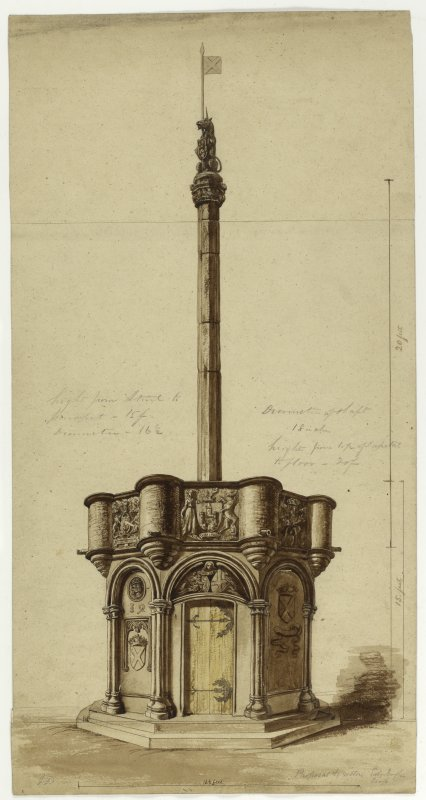 Drawing showing the proposed restoration of Edinburgh Market Cross.