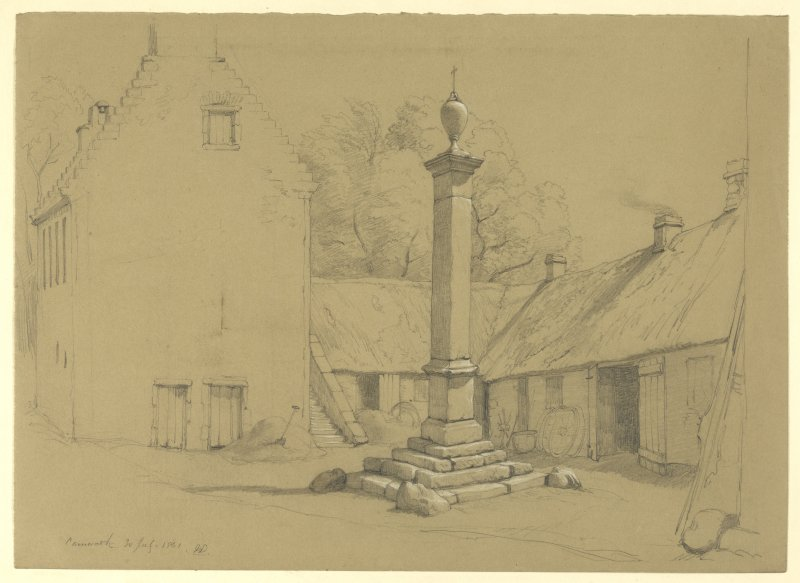 Drawing of Carnwath Market Cross.