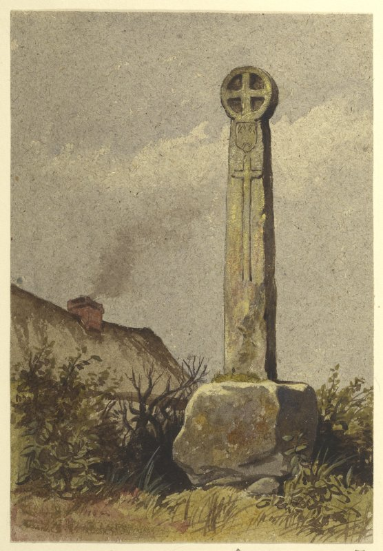 Painting of Eccles Market Cross at Crosshall.