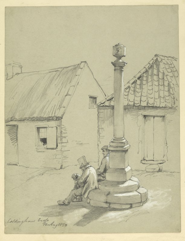 Drawing of Coldingham Market Cross.