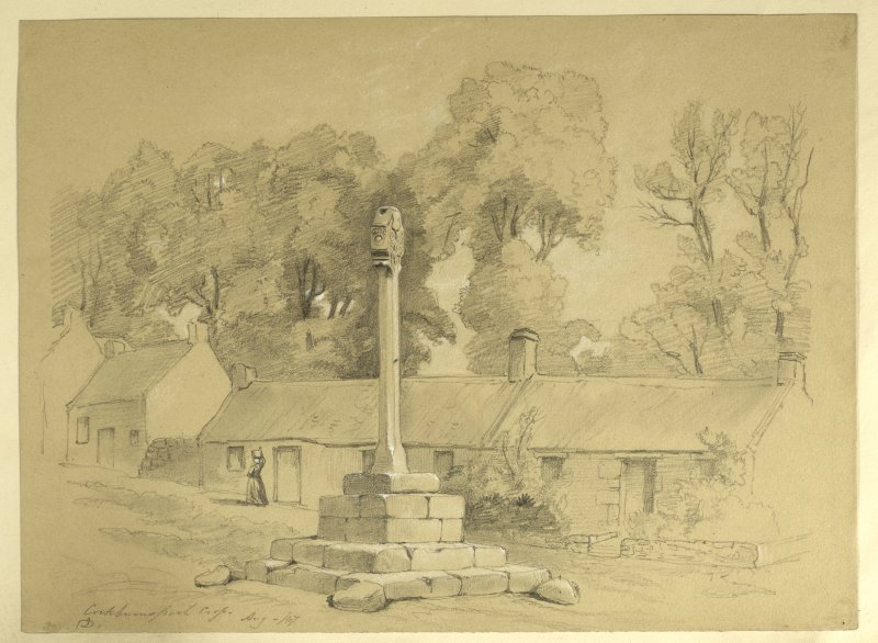 Drawing of Cockburnspath Market Cross.