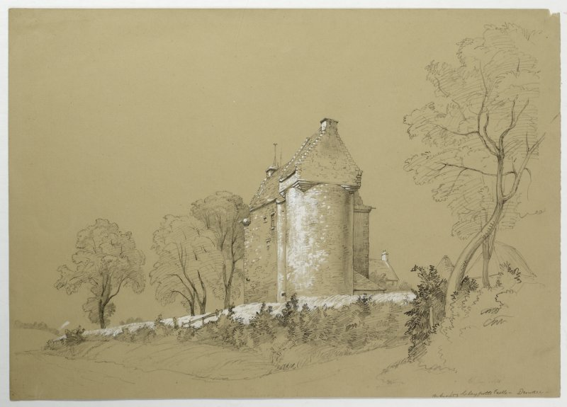 Drawing of Claypotts Castle.
