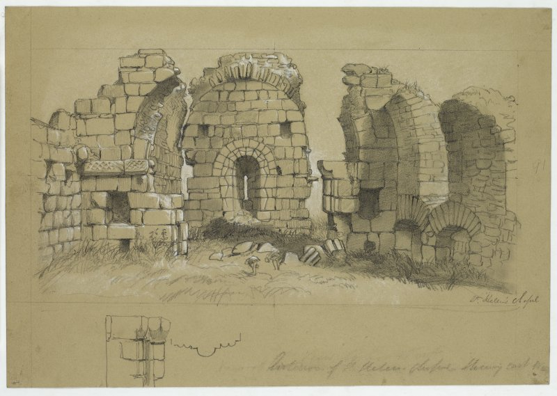 Drawing of a view of the ruins of St. Helen's Chapel.