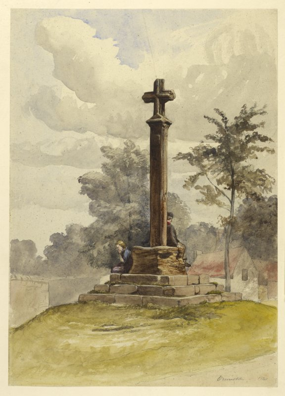 Watercolour showing general view of Ormiston Market Cross.