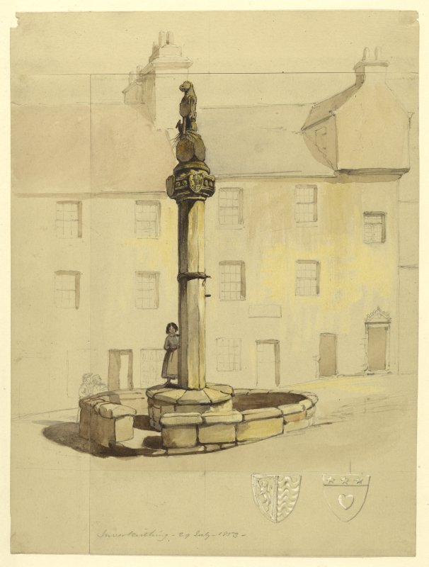 Drawing of Inverkeithing Market Cross.