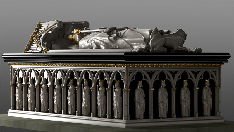 General view of digital reconstruction of the tomb of Robert the Bruce