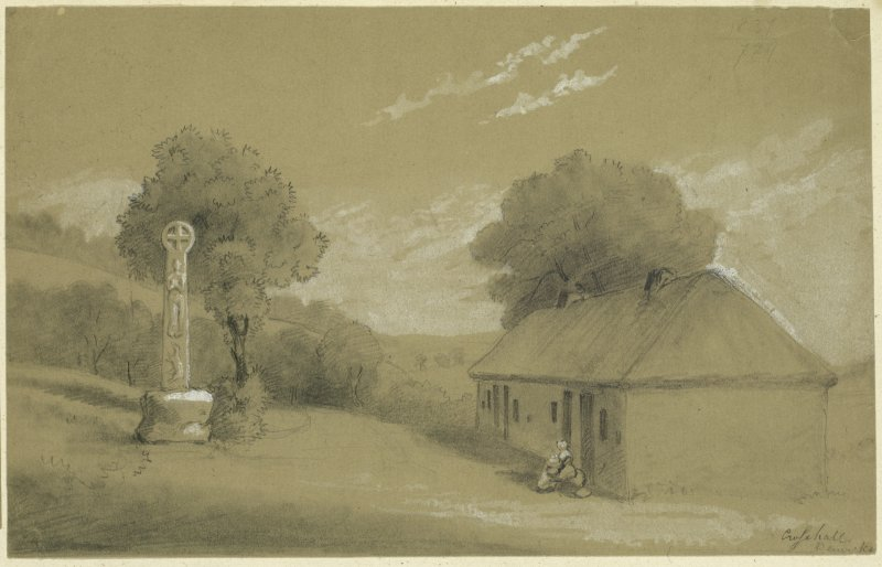 Drawing of Eccles Market Cross at Crosshall.