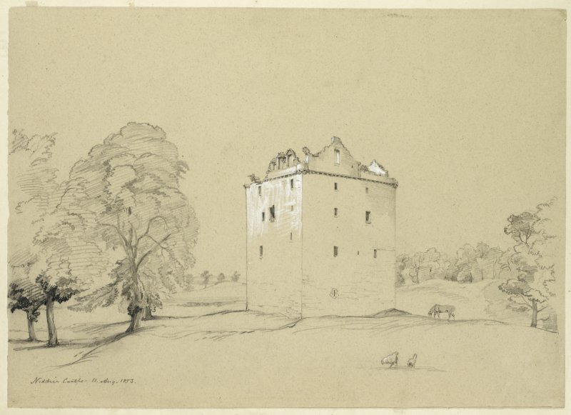 Drawing of Niddry Castle.