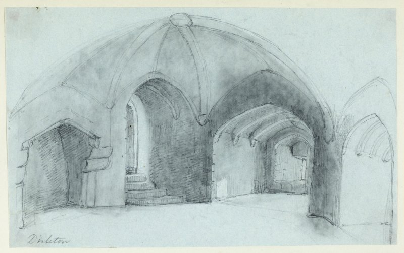 Drawing of interior of Dirleton Castle.