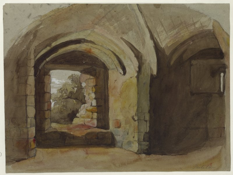 Watercolour of interior of Dirleton Castle