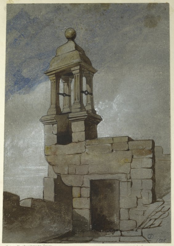 Drawing of belfry at Clackmannan Tower.
