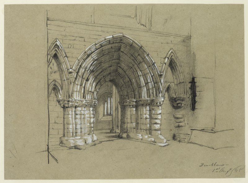 Drawing of the West entrance of Dunblane Cathedral.