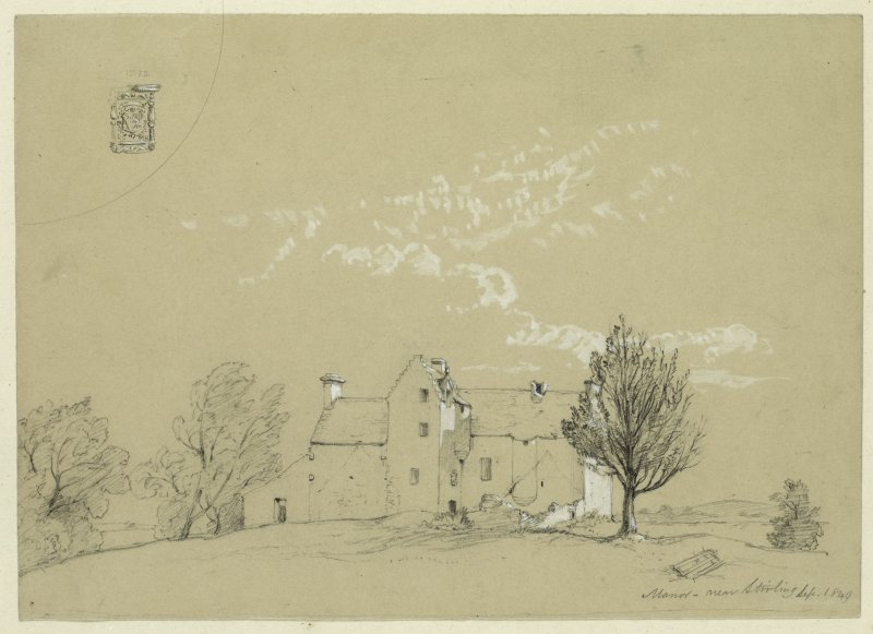 Drawing of Manor Castle with detail of heraldic stone.