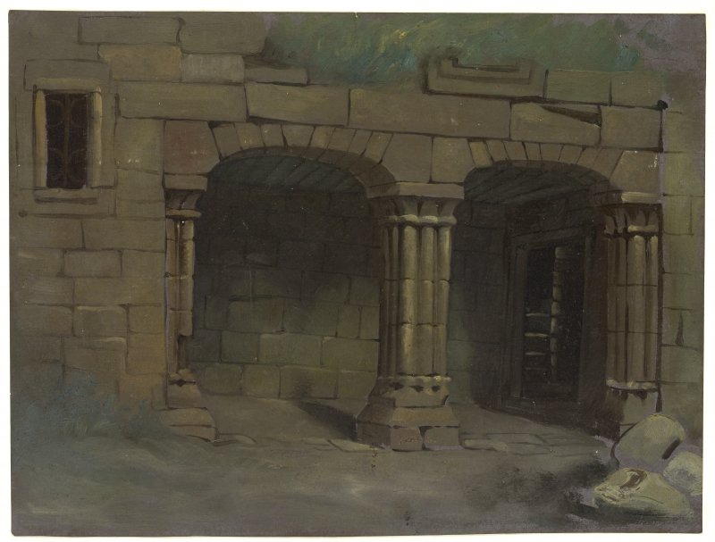 Drawing of loggia at Castle Campbell.