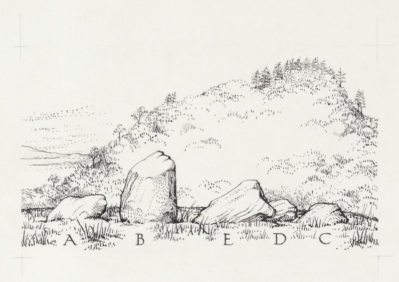 Publication drawing (sketch); standing stones, Dumgoyach.